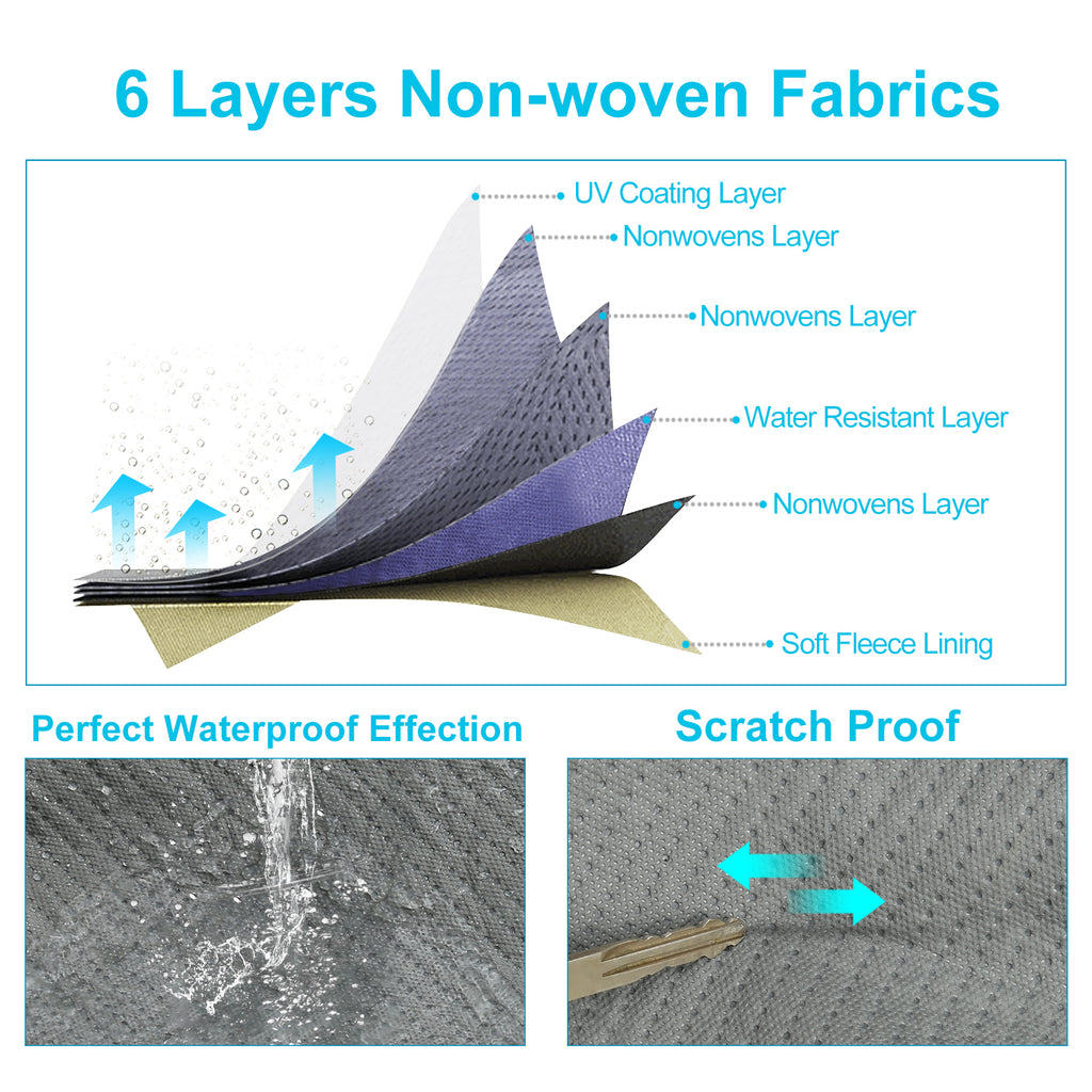 Waterproof Car Cover for Honda Accord 2012-2017, 6 Layers All Weather Windproof Dustproof Scratch Proof, Free Windproof Ribbon