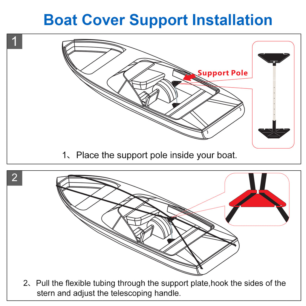 600D Durable Boat Cover 20-22ft Speedboat Cover Heavy Duty Waterpoof Sun-proof WindProof, fit for V-Hull Tri-Hull Runabout