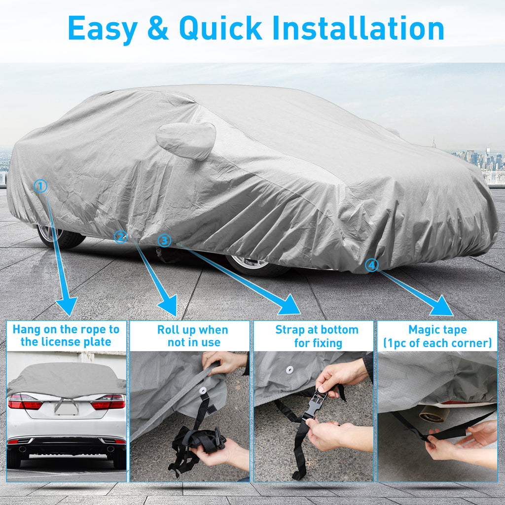 Waterproof Car Cover for Honda Accord 2012-2017, 3 Layers All Weather Windproof Dustproof Scratch Proof, Free Windproof Ribbon and Anti-Theft Lock