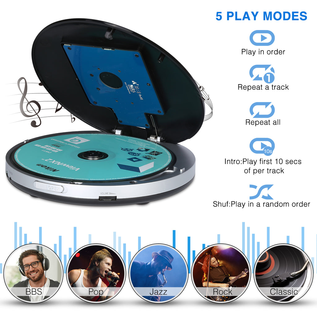 Pumpkin Portable CD Player with Electronic Skip Protection Anti-Shock Function Personal Compact Disc Player