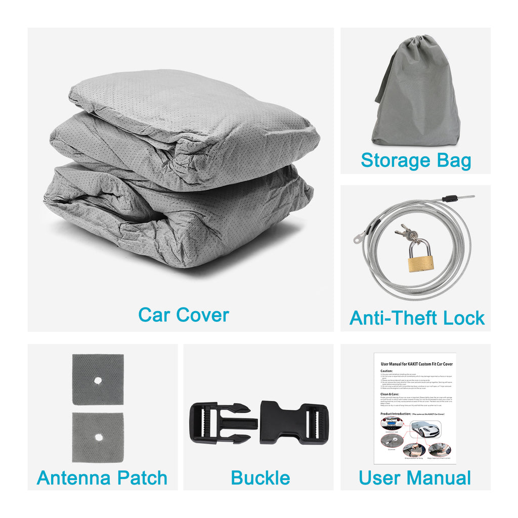 6 Layers Vehicle Cover for Honda Civic 2010-2017, Car Cover for Snow, Waterproof, Dustproof, Scratch Proof Auto Cover, Free Windproof Ribbon & Anti-Theft Lock