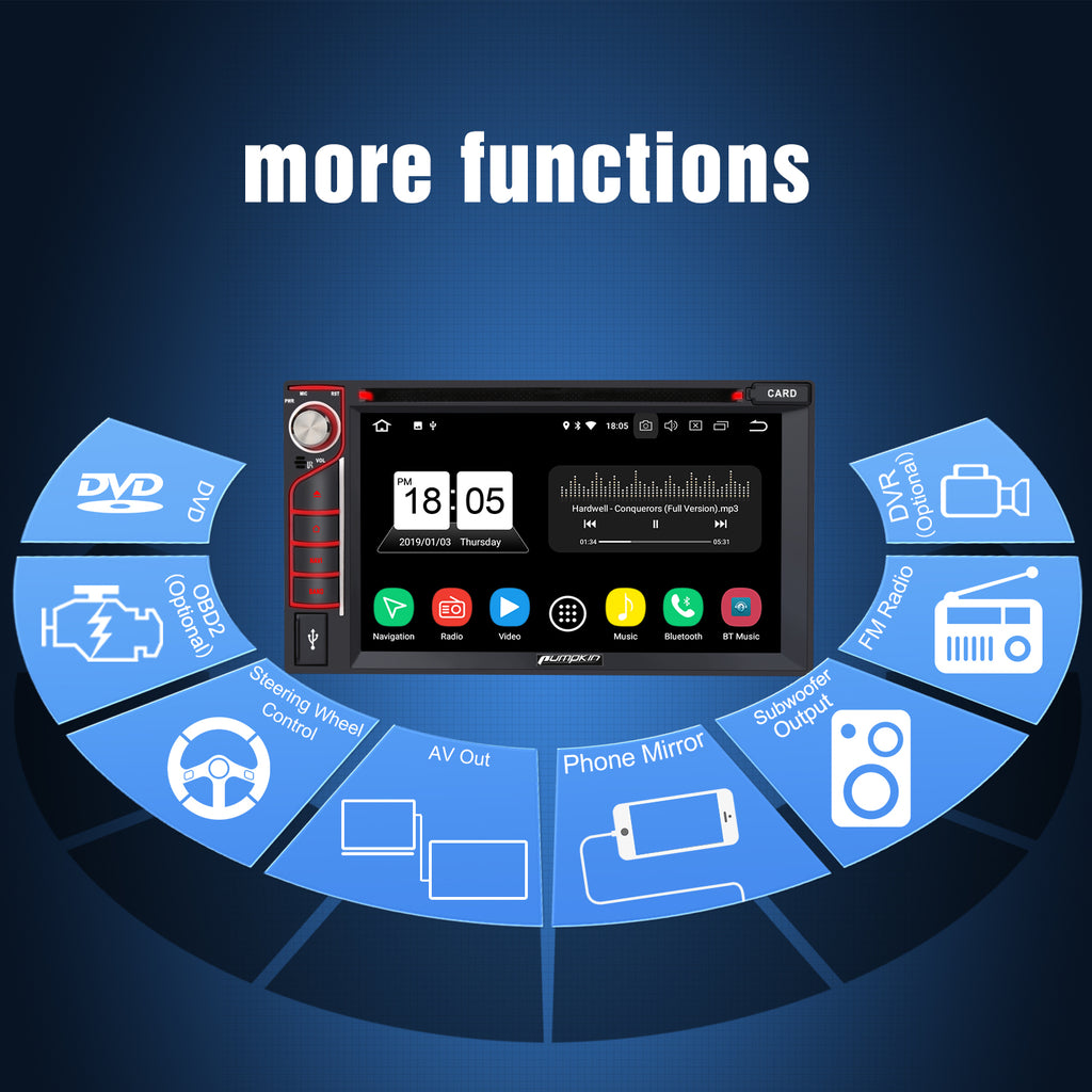 "6.2"" Octa-core Car Stereo Player Android 8.0 Sat Nav Support GPS Navigation Subwoofer Audio Mirror Link Fast-Boot Bluetooth Play (RAM 4GB+ROM 32GB)"