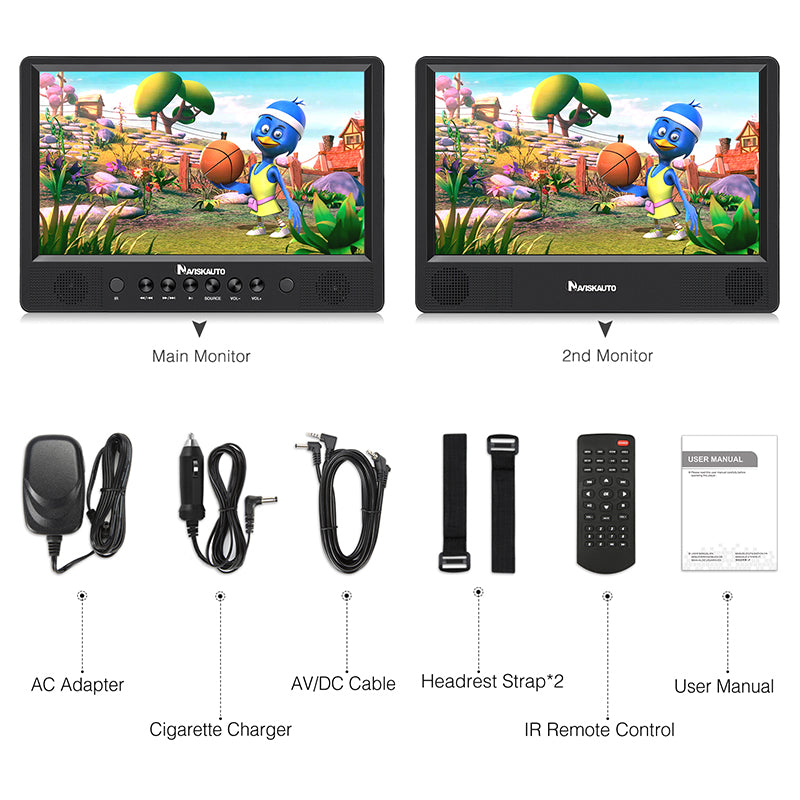 10.1 Inch Dual Screen Portable DVD Player with 2 Mounting Straps and Rechargeable Battery, Supports USB/SD/MMC