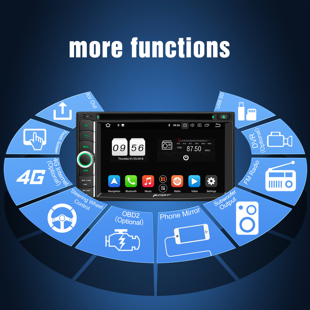 PUMPKIN Android 8.0 Car Stereo Double Din DVD CD Player with 6.2 inch Touchscreen, GPS, WiFi, Support Fastboot, Backup Camera,  USB SD, AUX (4GB+32GB)