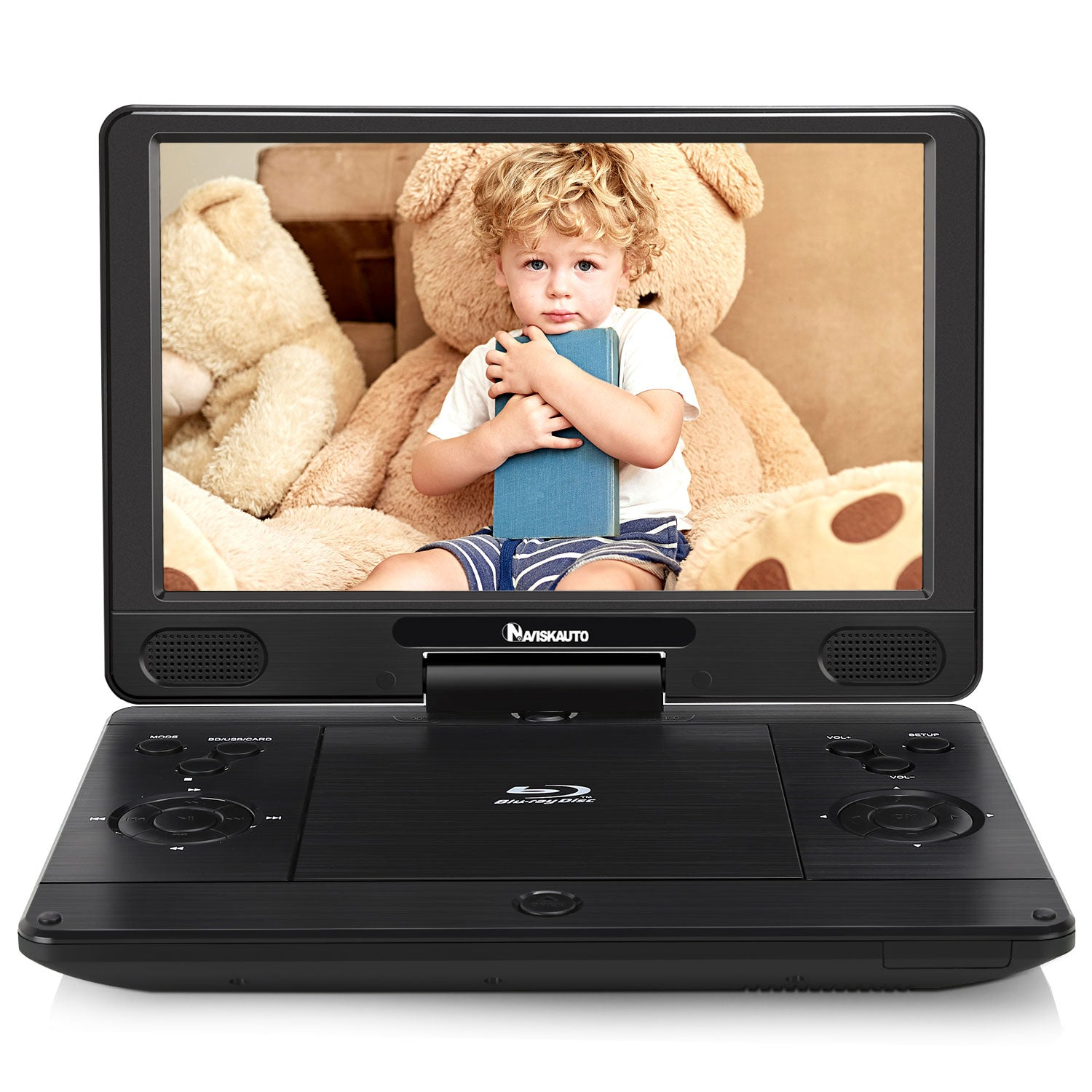 12 Inch Portable Blu Ray DVD Player with 4000mAh Rechargeable Battery and 1024×600 Swivel Screen Support HDMI Out, AV in, Dolby Audio, 1080P HD, USB SD