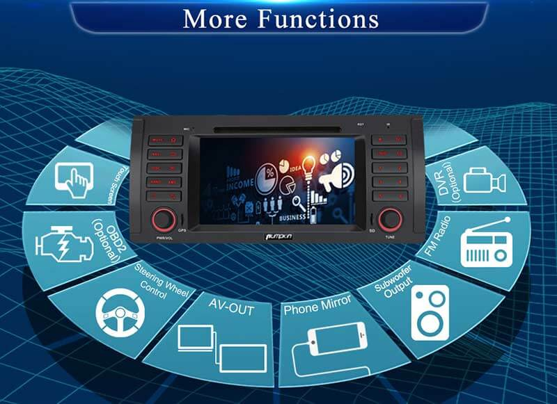 "Pumpkin 7"" Touchscreen Octa Core Android 8.0 Car Stereo with RAM:4GB/ROM:32GB for BMW E39 Series"
