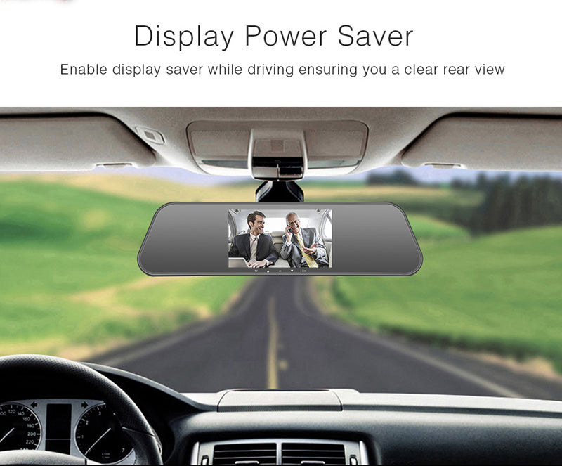 "Mirror Dash Cam Front and Rear 1080P+ 720P, 5"" IPS Touch Screen Dual Camera"