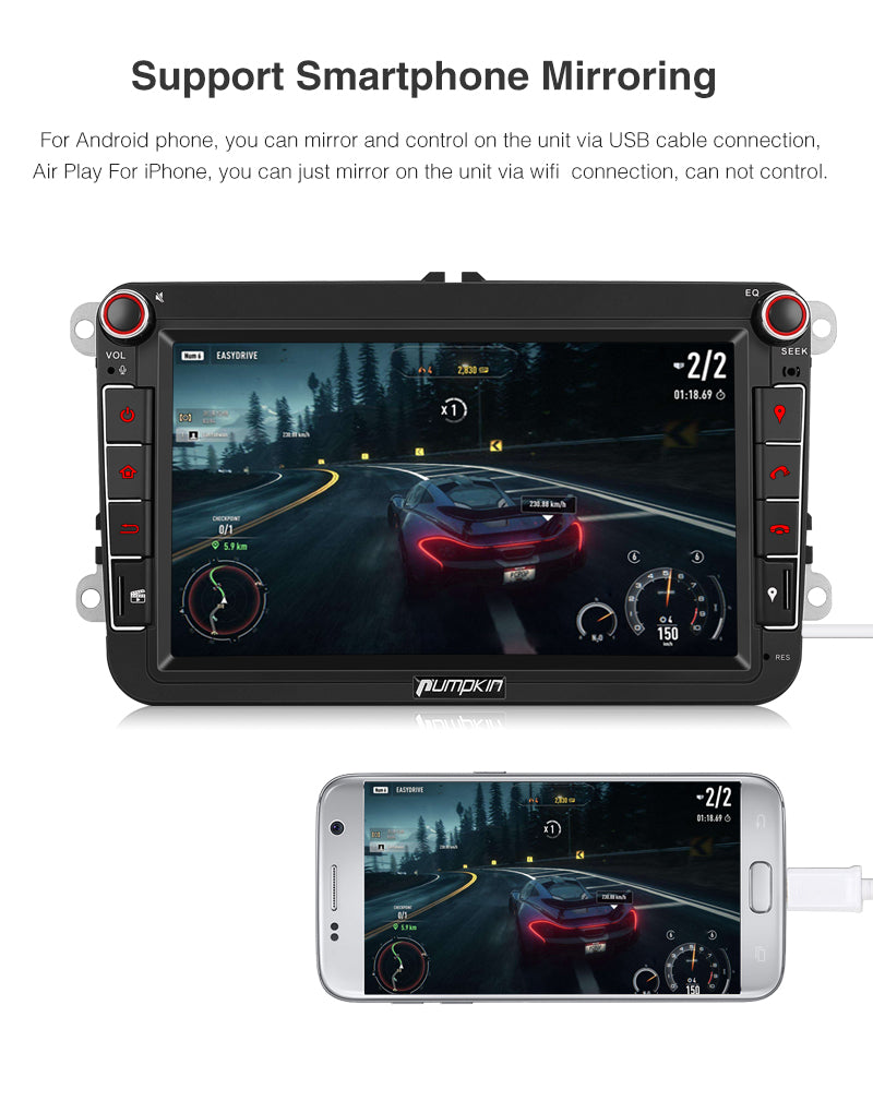 Car Radio Android 8.0 Double Din 8 Inch Touchscreen Octo Core for VW Skoda Seat series with Bluetooth  GPS Navigation RAM: 4GB + ROM: 32GB