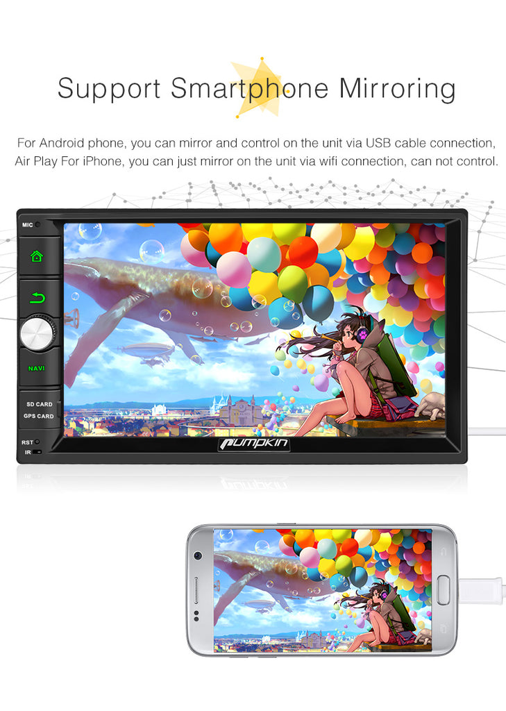 Bluetooth Car Stereo Android 8.0 Universal Car Radio Double Din 7 Inch Touchscreen Octa-Core with GPS Navi Bluetooth RAM: 4GB+ROM: 32GB