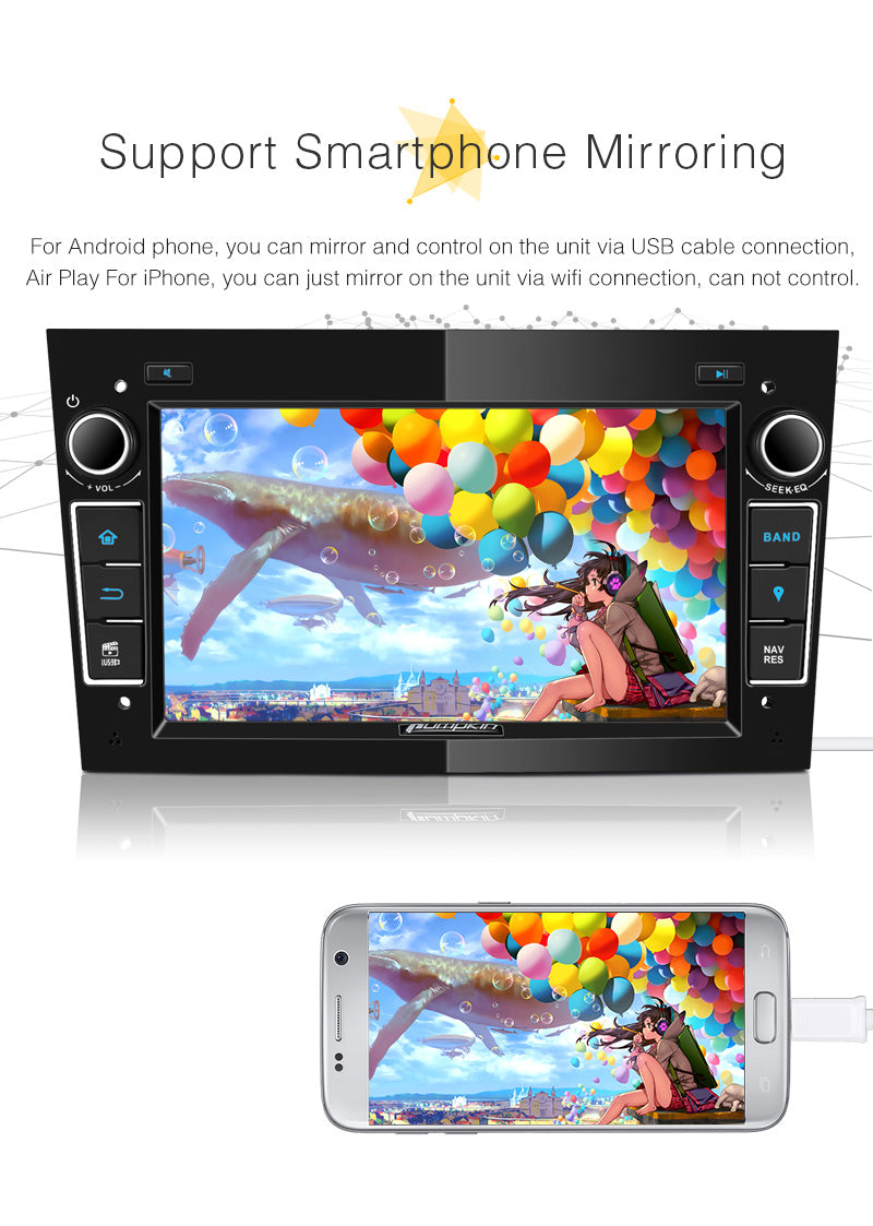 Head Unit Car Audio Android 8.0 Car Stereo/Radio for Opel/Vauxhall Corsa Astra Vivaro Antara Zafira Meriva Vectra Double Din 7 Inch Touchscreen with GPS Navigation DVD Player RAM: 4GB + ROM:32GB (Black)