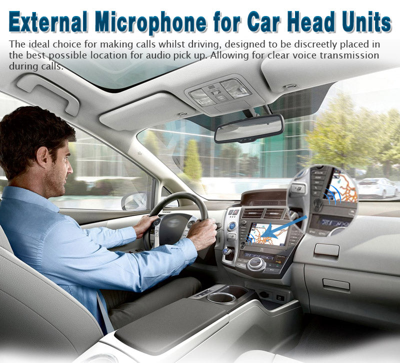 Universal Hands Free External Microphone, 3.5 mm External Mic for Car Stereo Radio DVD Player GPS Navigation with 4.9 ft Cable