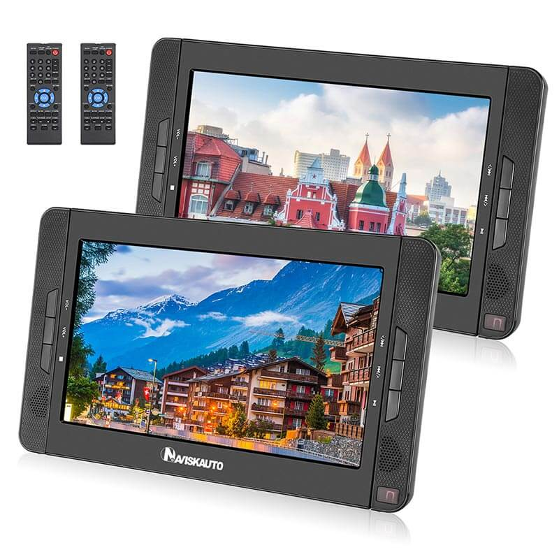 Dual Screen Portable DVD Player 10.1 Inch with 5-Hour Rechargeable Battery Car DVD Player With Multiple External Device Interfaces And High Power Speakers