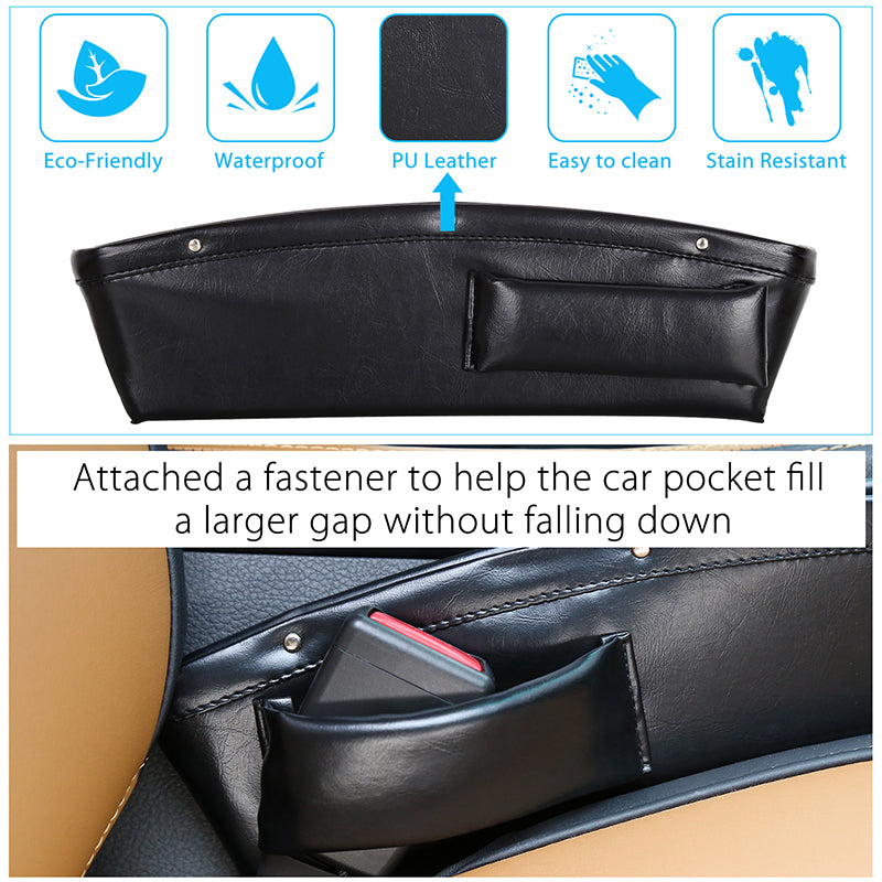 Car Gap Filler Pocket with 2 Pcs Hangers- Seat Console Organizer, Car Pocket Organizer, Car Interior Accessories, Car Seat Side Drop Caddy Catcher (2 sets)