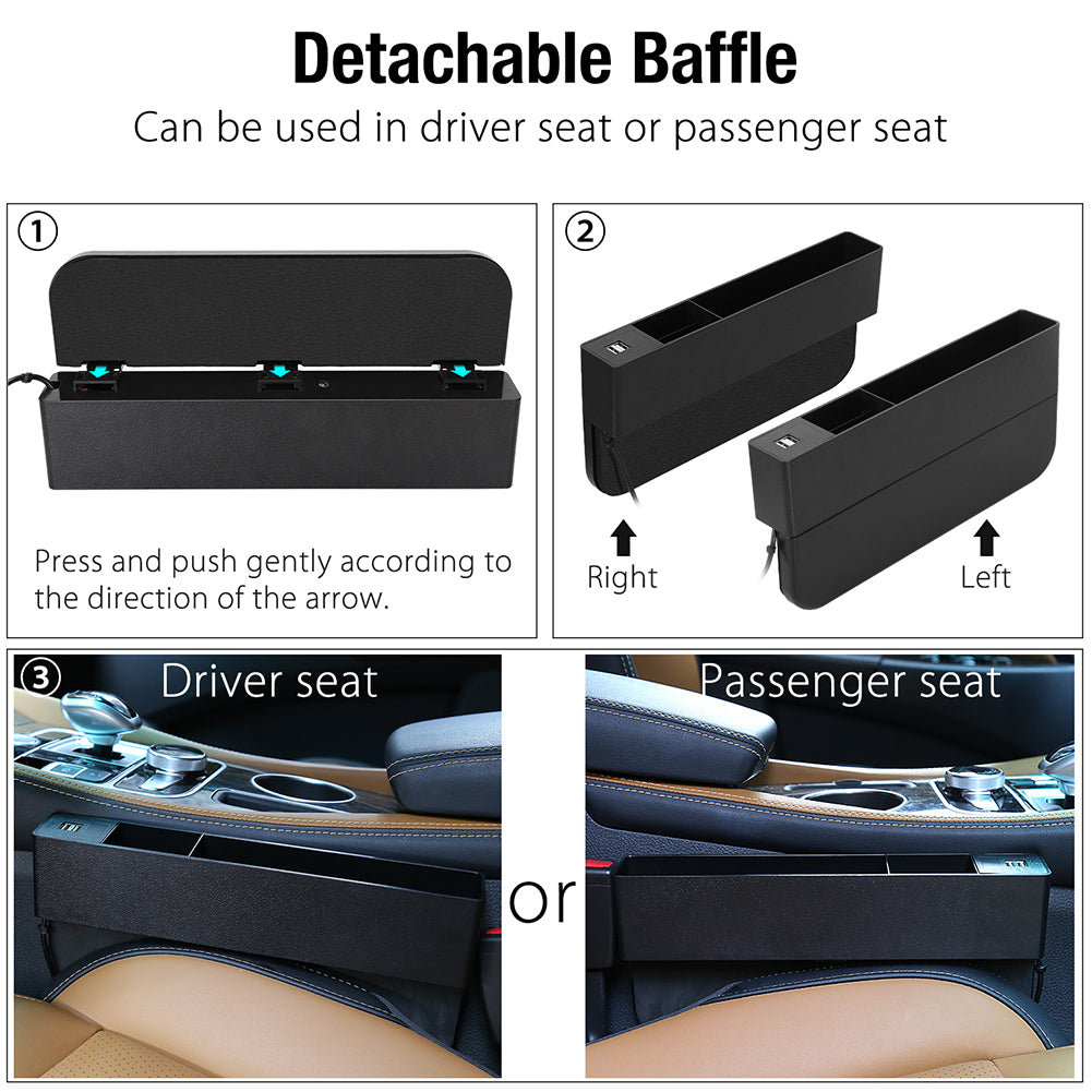 Car Seat Gap Filler with 2 USB Charging Ports (Universal Fit), ABS Car Seat Console Organizer, Car Gap Catcher Caddy Stopper- Car Seat Organizer