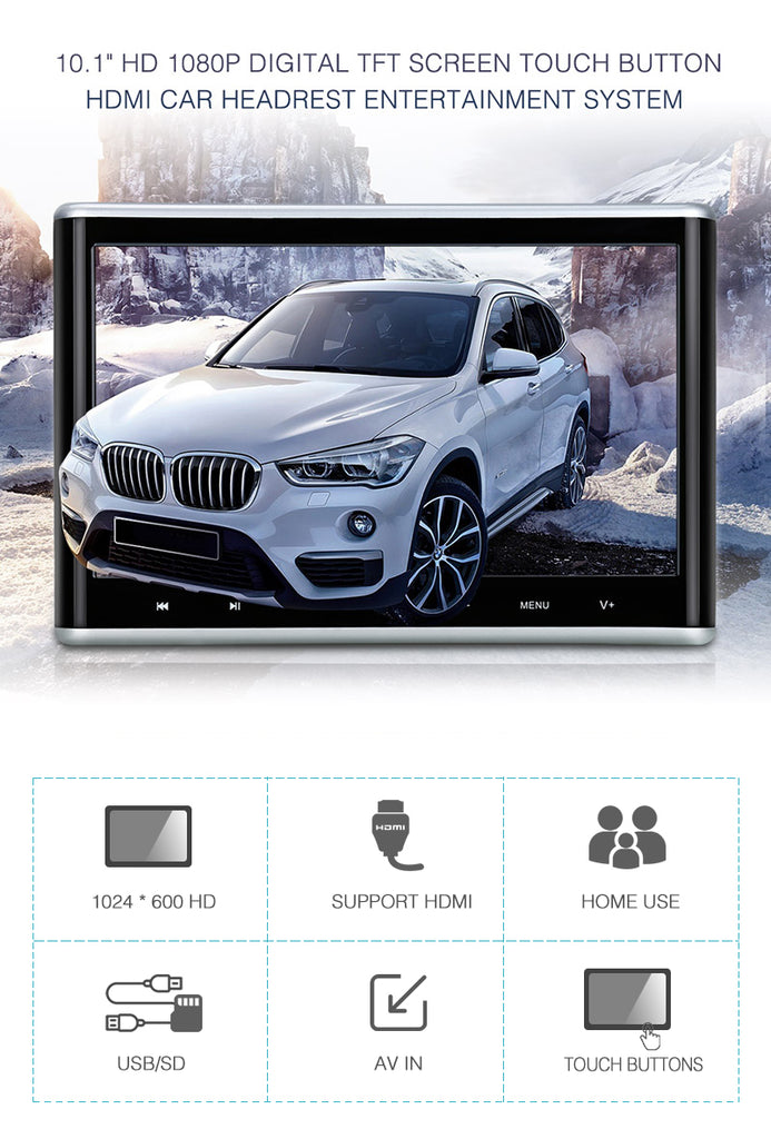 "10.1 "" Car Headrest DVD Player Entertainment Monitor Display with Touch Button and HDMI Input"
