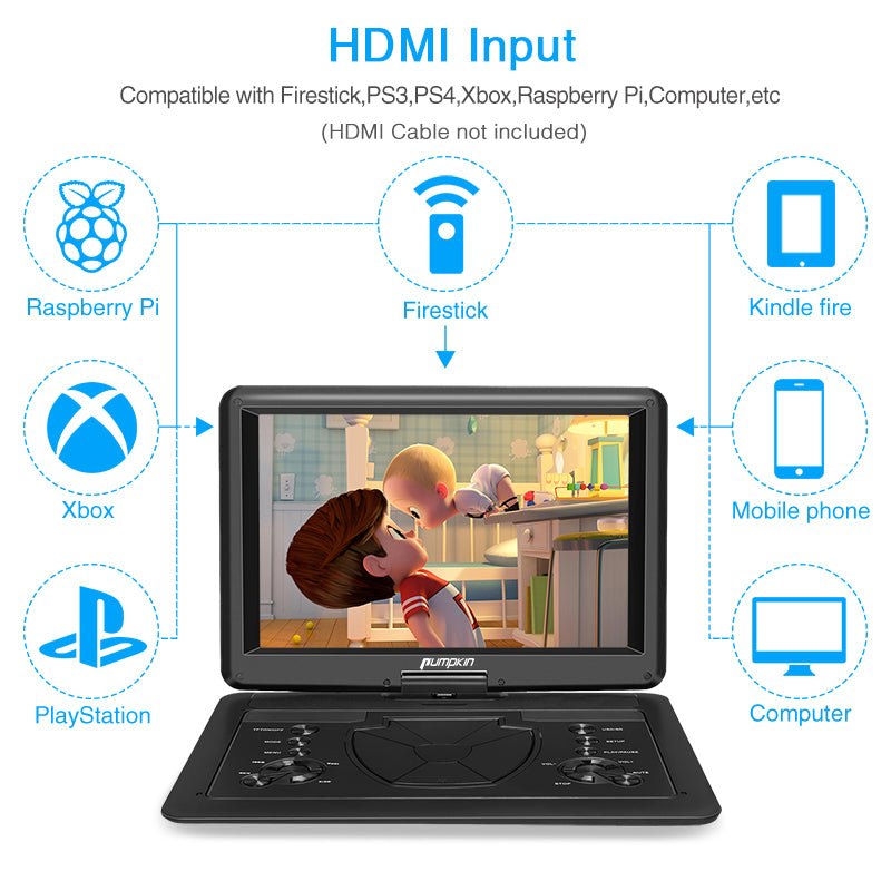 Car Seat DVD Player Portable DVD Player with 16 Inch Large Screen with Rechargeable Battery Support HDMI Input, 1080P HD Video, Sync Screen and Last Memory, AV in & Out,