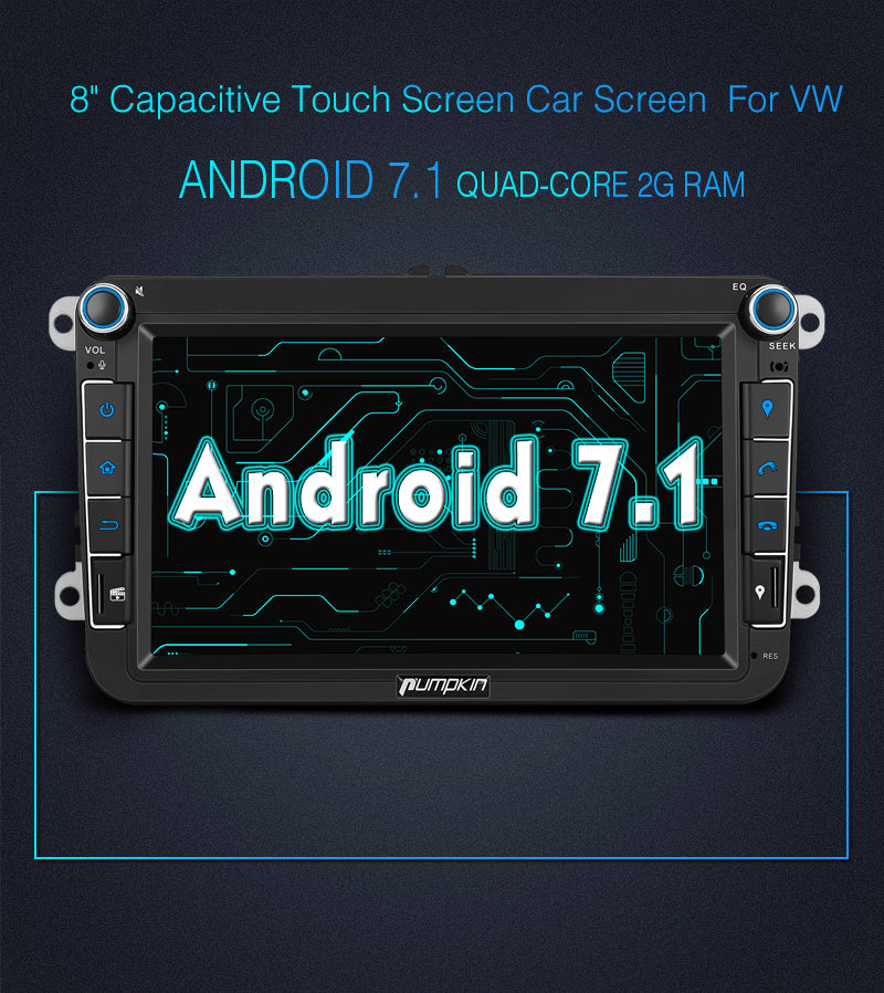 Car Stereo with GPS Android 7.1 Car Radio for VW Seat Skoda Series Double Din 8 inch Touchscreen Quad Core RAM:2GB + ROM: 16GB support fast boot
