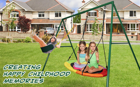 440 lbs Outdoor Metal Swing Set with Heavy Duty A-Frame for Kids