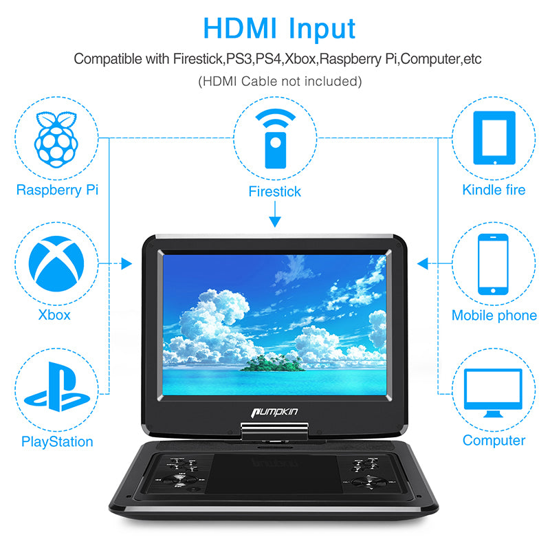 13 Inch Car Back Seat DVD Player Portable 1080P HD TV Screen Monitor for Car with HDMI Input, Built in Rechargeable Battery