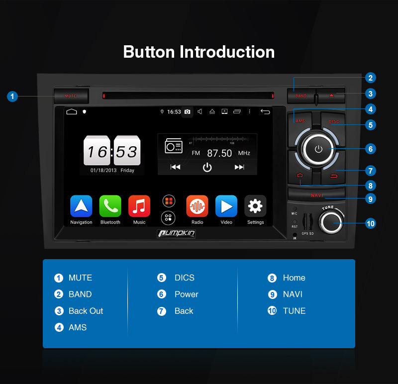 audi a4 radio buttons