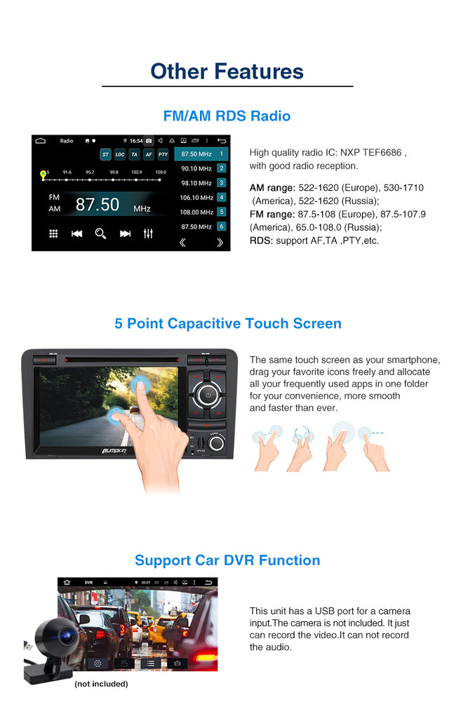 Pumpkin Audi A3 Radio Double Din 7 inch Touchscreen Android 9.0 Car Stereo headunit for Audi A3 with GPS Navigation DVD Player 4GB RAM DAB Android Auto OBD2 Fastboot