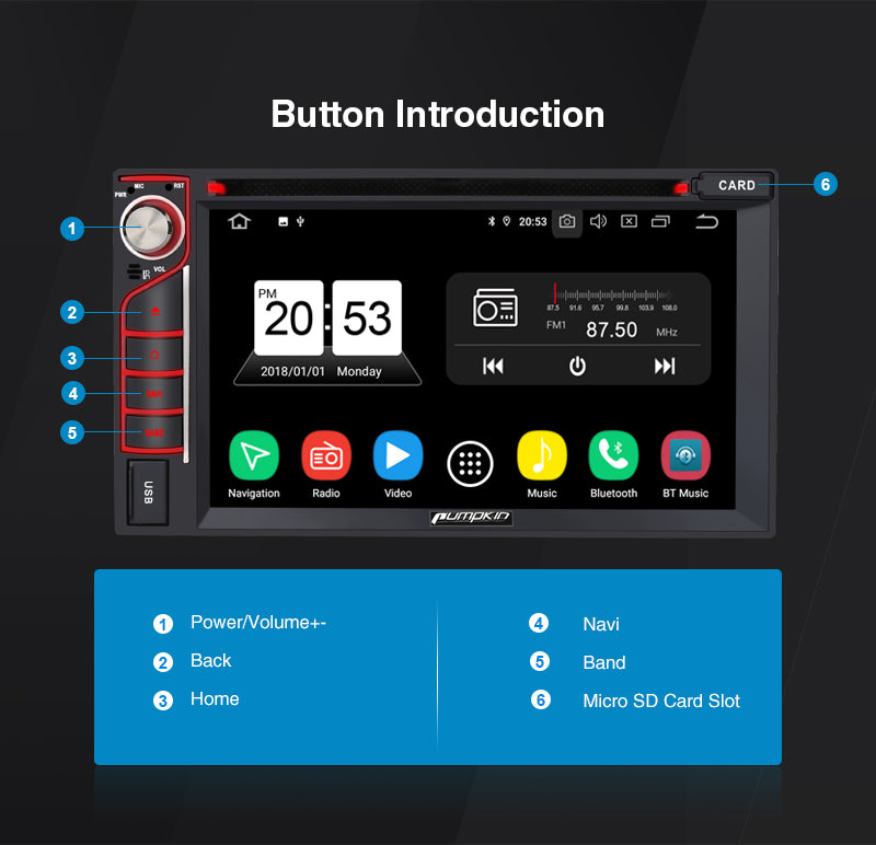 Android 9.0 Car Stereo button introduction