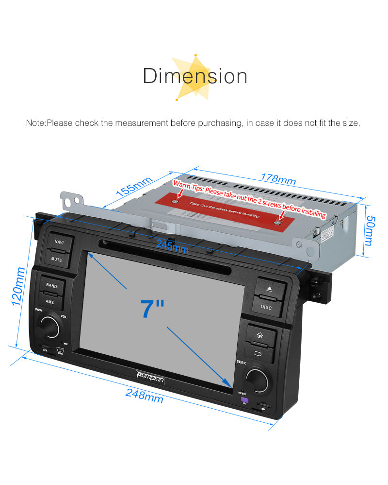 BMW E46 Head Unit Android 8.0 Car Stereo/Radio for BMW E46 3 Series 7 inch Touchscreen with GPS Navi DVD Player RAM:4GB + ROM:32GB