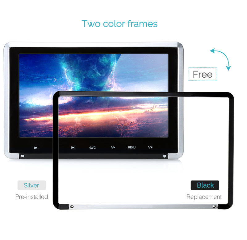 10.1 Inch Car DVD Headrest Monitor LCD Screen Auto CD Player Seat TV with HDMI Input, Touch Button and Tow Color Frames
