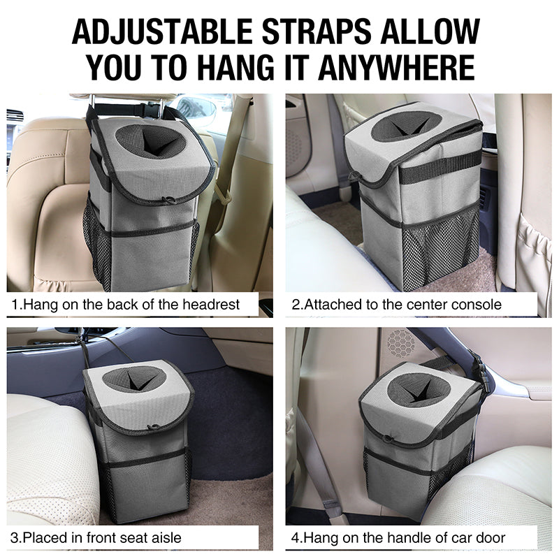 Car Trash Can Leakproof Car Garbage Can Compact Design Removable Car Trash Bag Bin Easy Hanging or Mounting In Car/Truck/Minivan/SUV/Auto