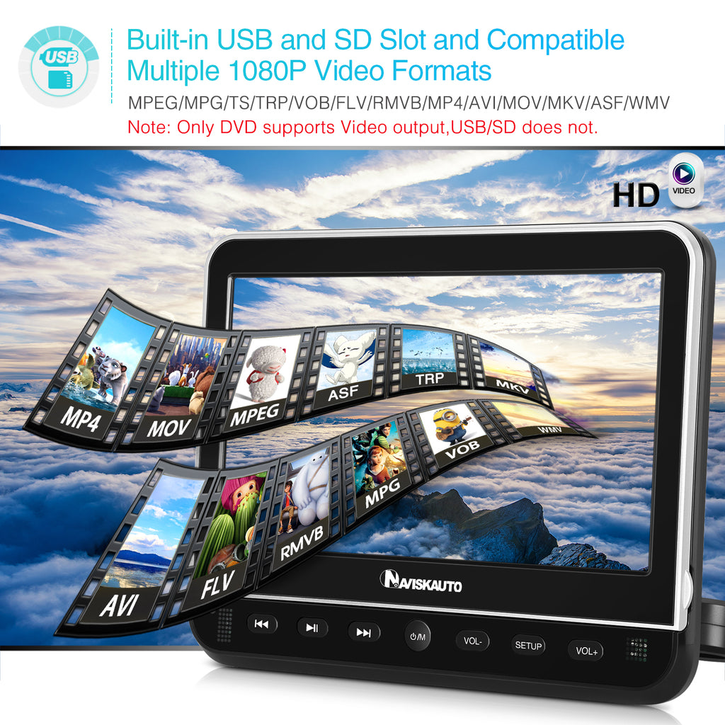 10.1 Inch Portable DVD Player with 1024*600 supports 1920*1080@30fps HD video playback