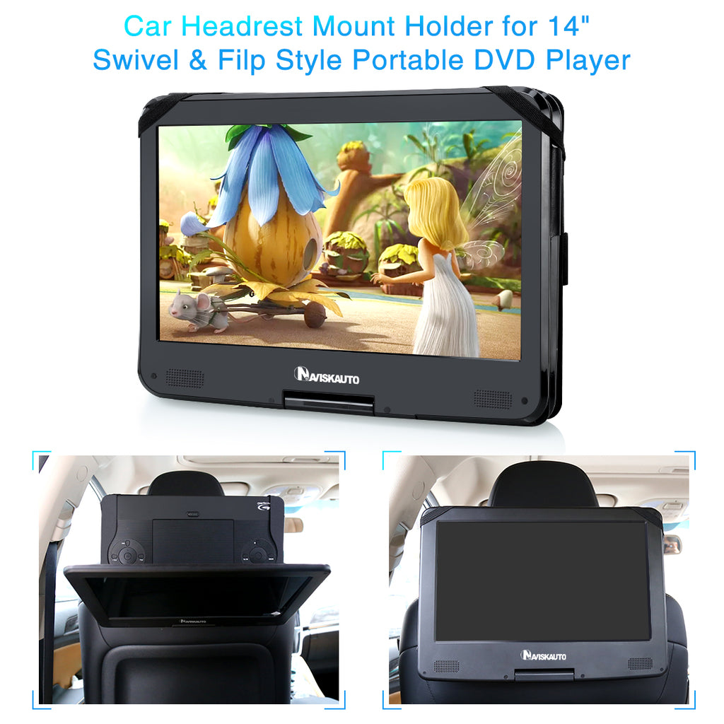 Car Headrest Mount Holder Case Only for NAVISKAUTO 14 Inch Portable DVD Player