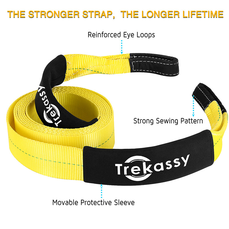 """3"""" x 20' Heavy Duty Car Tow Straps Rope Recovery 35,000lbs Racing Towing Cable + Movable Protective Sleeve + Carry Bag"""