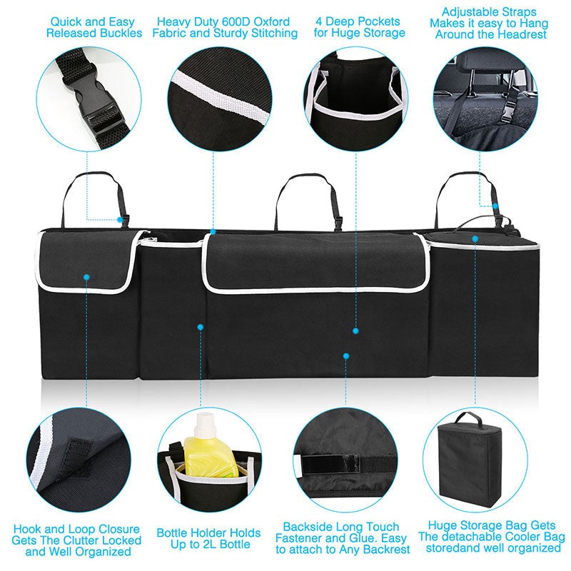 Trunk Organizer For Car with Cooler Insulated, Trunk Organizer for SUV Van Cargo Storage, Collapsible Car Back Seat Organizer 600D Durable Material, Road Trip Accessories