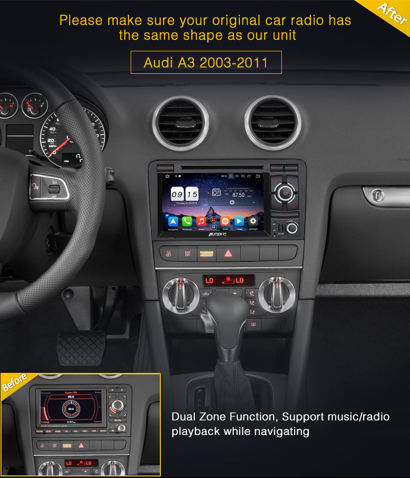 Audi A3 Radio Double Din 7 inch Touchscreen Android 8 0 Car