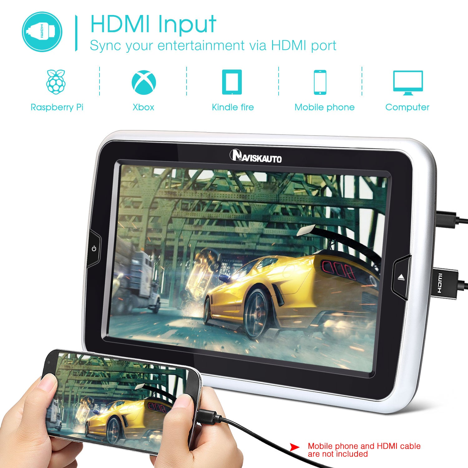 "10.1"" Car Headrest DVD Player Slot-in Design Headrest Monitor Support HDMI/AV Out & in/SD & USB /1080P HD/Region Free"