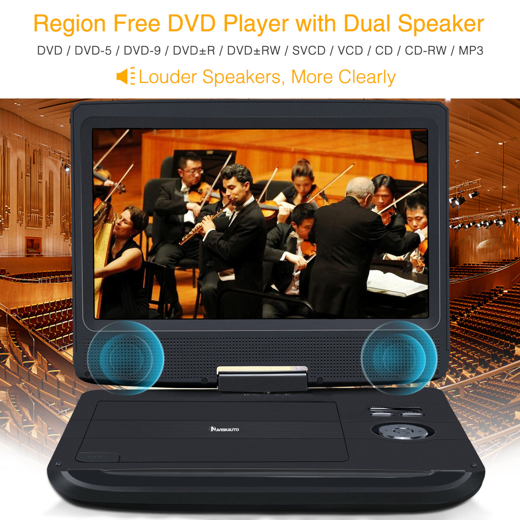 10.1 Inch Cheap Portable DVD Player with 1024×600 Swivel & Tilt Screen, Rechargeable Battery, Dual Speakers, Last Memory, Region Free