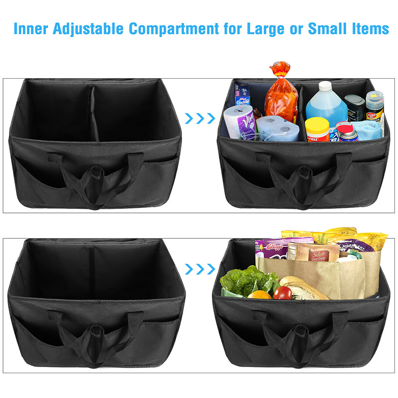 Car Trunk Organizer for SUV Truck Auto Durable Collapsible Seat Organizer with Cooler, Non Slip Bottom Strips and Side Straps to Prevent Sliding