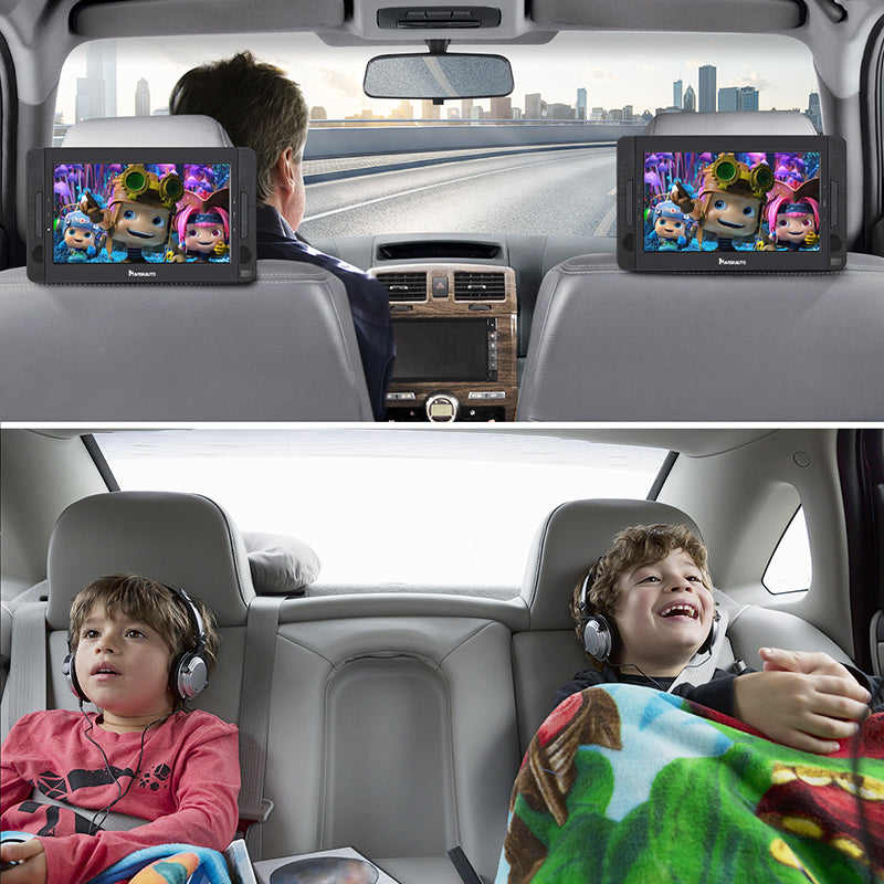 Naviskauto 10.1'' Twin Car Headrest DVD Player Portable DVD Player with Built-in Rechargeable Battery, USB Port, SD Card Slot, Last Memory.