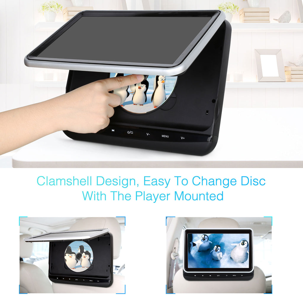"10.1"" HD Headrest Monitor Clamshell Design DVD Player with Last Memory, Touch Button, USB&SD Slot, Region Free"