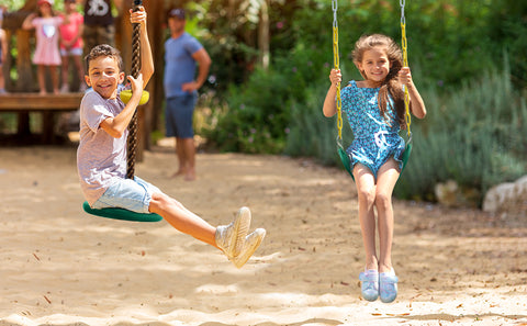 Combo Belt Swing and Tree Climbing Rope Swing with Foot Hold Platforms for Kids