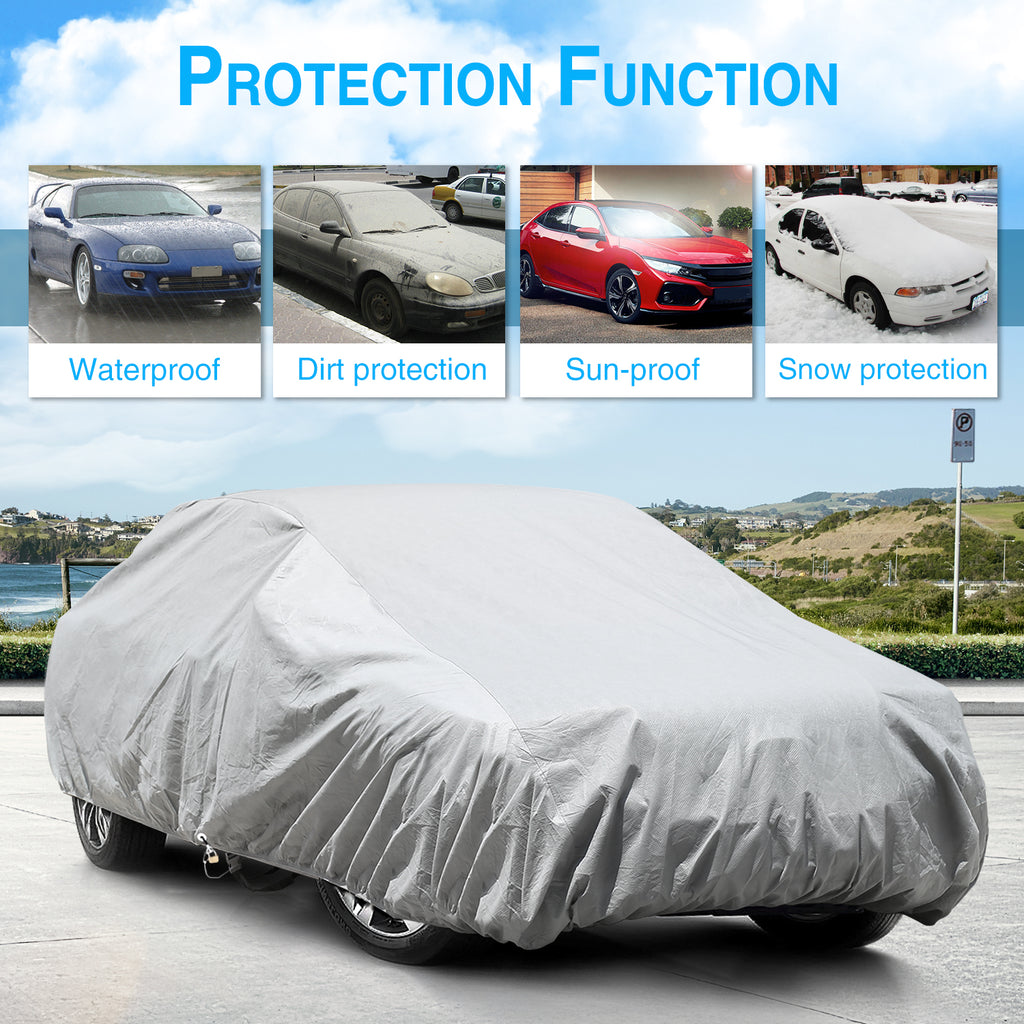 KAKIT Car Cover Waterproof All Weather, 2 Layers UV Protection Universal Sedan Car Covers with Free Windproof Ribbon & Anti-Theft Lock for Full Size Sedan Cars