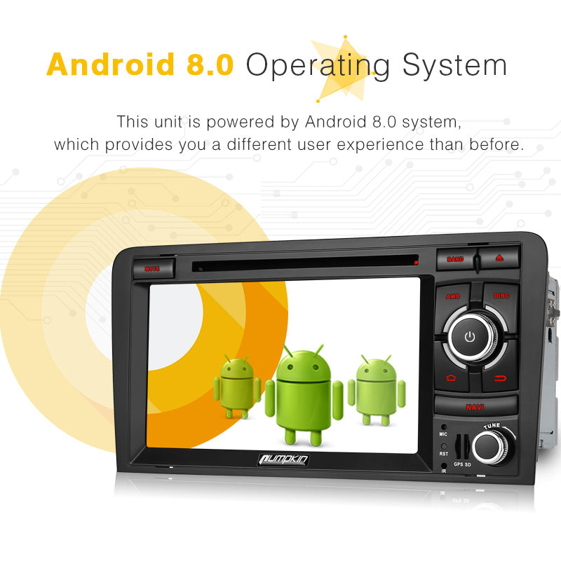 Audi A3 Radio Double Din 7 inch Touchscreen Android 8.0 Car Stereo for Audi A3 with GPS Navigation DVD Player RAM: 4GB + ROM: 32GB