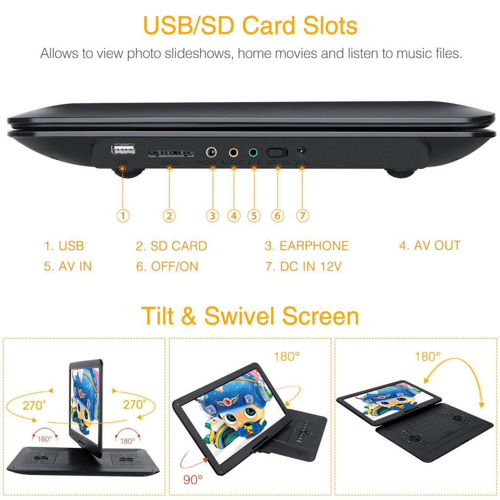 "15.6"" Portable DVD Player Monitor with Large 1366x768 Swivel Screen and Rechargeable Battery, Customized Car and Wall Charger"