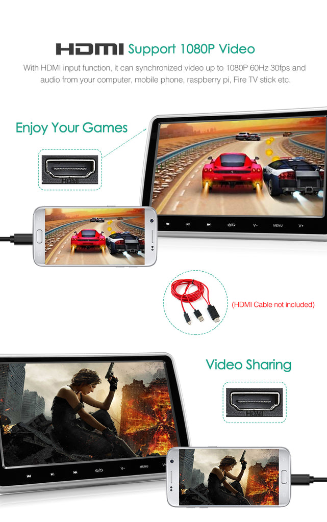 "10.1"" Car Headrest Monitor HD DVD Player with Touch Key HDMI SD USB IR Remote Control"