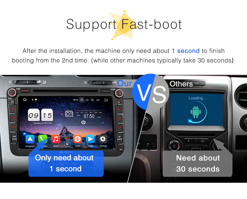 Pumpkin Car Radio Android 8.0 Double Din 8 Inch Touchscreen Octo Core Car DVD Player for VW Skoda Seat series with Bluetooth GPS Navigation RAM: 4GB + ROM: 32GB