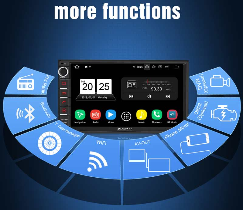 Android 9.0 Car Stereo Systems 1080P HD Video Subwoofer Audio Output Quad-Core 7-Inch Screen Touch Screen
