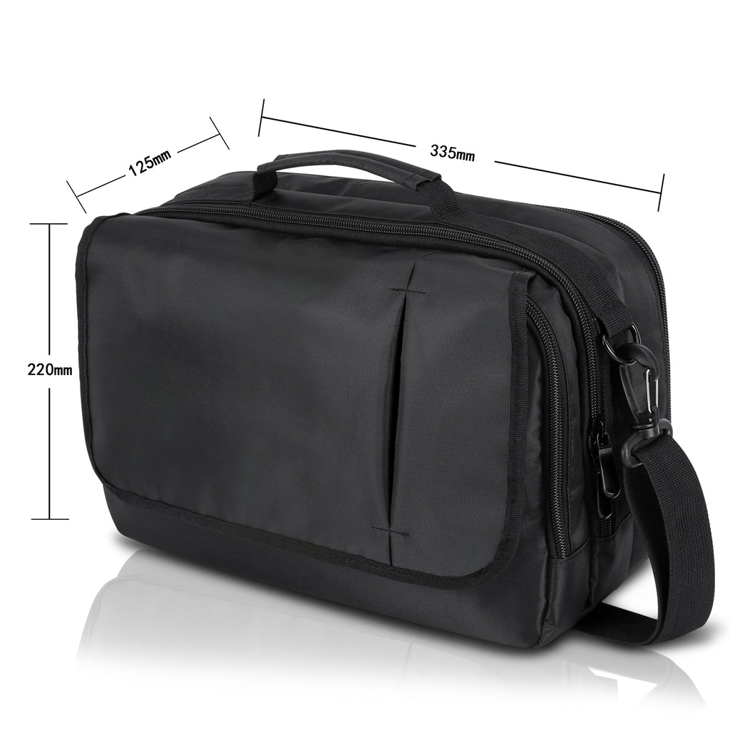Business Messenger Bag Shoulder Bag for 10.1 inch Dual Screen Portable DVD Player and Tablet-Black