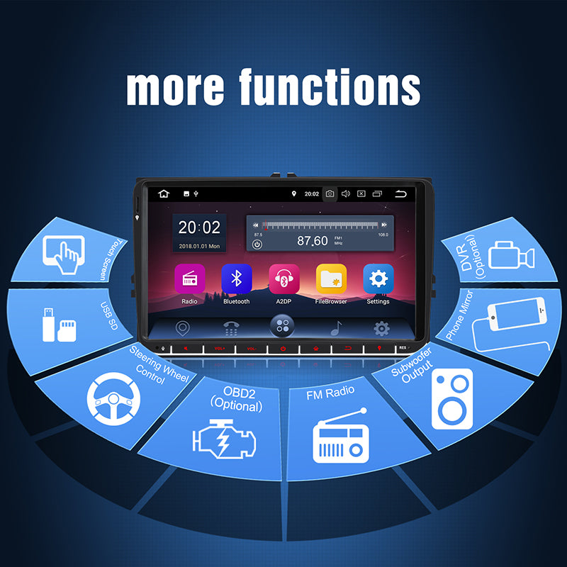 Bluetooth Double Din Car Stereo Android 8.1 Car Radio with 9 Inch Touchscreen, GPS Navigation for VW/Seat/Skoda Series