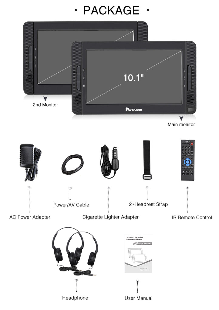 Naviskauto Headrest DVD Player 10.1 Inch Portable DVD Player with 2 Headphones and Rechargeable Battery, Support USB/SD, Last Memory.