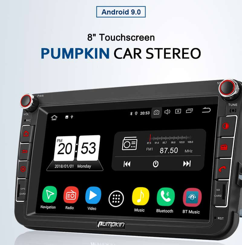 "Pumpkin 8"" Touchscreen Android 9.0 Car Stereo Player Bluetooth Hands-free Call And Support 1 Second Fast Boot For the Second Time"